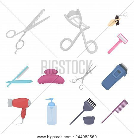 Hairdresser And Tools Cartoon Icons In Set Collection For Design.profession Hairdresser Vector Symbo