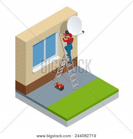 Isometric Male Technician In Uniform Installing Tv Satellite Dish On Wall. Adjustment Of A Satellite