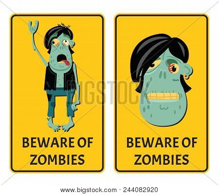 Beware Of Zombies Labels With Punk Rocker Monster. Halloween Party Attribute With Funny Undead Man,