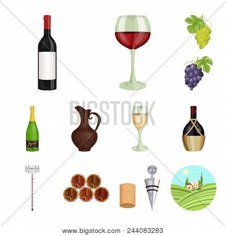 Wine Products Cartoon Icons In Set Collection For Design. Equipment And Production Of Wine Vector Sy