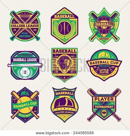 Baseball Professional League Isolated Label Set. Baseball Tournament Symbol, Sport Colleague Society