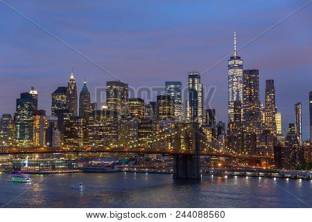 Brooklyn Park, Brooklyn Bridge, Janes Carousel And Lower Manhattan Skyline At Night Seen From Manhat