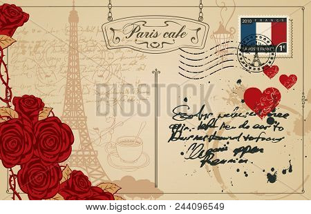 Retro Postcard With Eiffel Tower In Paris, France. Romantic Vector Postcard In Vintage Style With Re