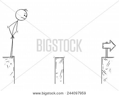 Cartoon Stick Man Drawing Conceptual Illustration Of Businessman Facing The Chasm. Business Concept