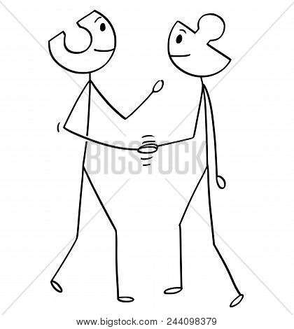 Cartoon Stick Man Drawing Conceptual Illustration Of Two Businessmen With Heads As Jigsaw Puzzle Pie