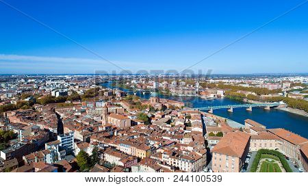Aerial View Of Saint Cyprien District In Toulouse, Haute Garonne, France