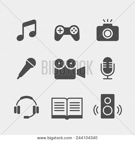 Media Flat Vector Icons Set. Multimedia Flat Vector Icons Set. Note, Music, Games, Joystick, Camera,