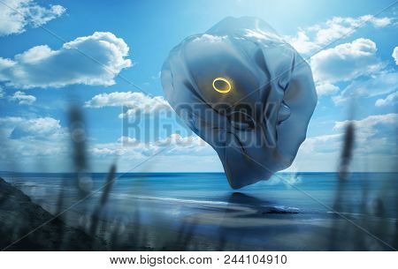 A Strange And Mysterious Futuristic Looking Object Hovering Over A Scenic Beach On A Hto Summerday.
