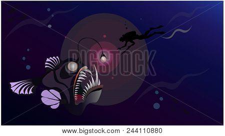 Diver Underwater Hunter Deep In Sea Meet Monster - Giant Fish Angler, Horizontal
