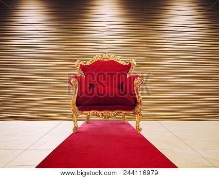 Concept Of Luxury And Success With Red Velvet And Gold Armchair. Concept Of Success And Glory