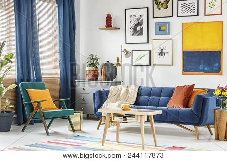Real Photo Of A Colorful Living Room Interior With A Green Armchair And A Navy Blue Sofa Standing At