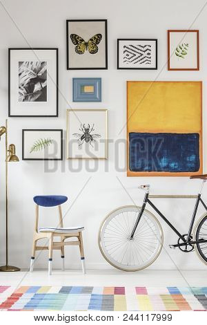 Blue And White Chair And Bicycle Standing In White Room Interior With Colorful Carpet, Gold Lamp And