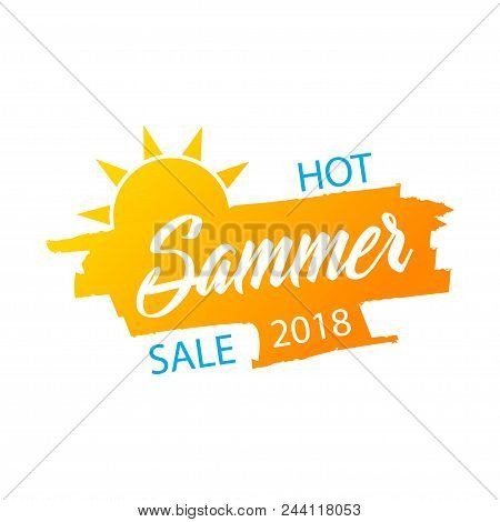 Hot Summer Sale Banner, Stylish Vector Design On A White Background