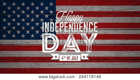 Happy Independence Day Of The Usa Vector Illustration. Fourth Of July Design With Flag On Vintage Wo
