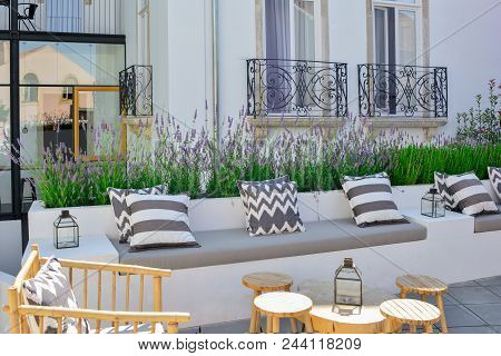 Sofa With Cushions For Relaxation On The Terrace
