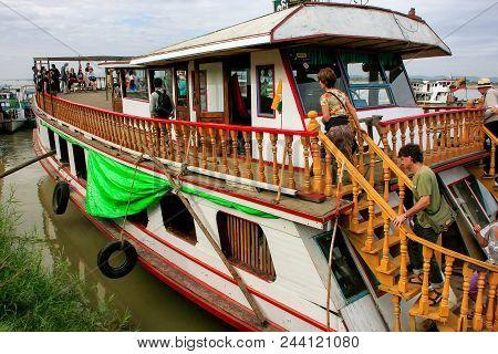 Mandalay, Myanmar - December 30: Barge Anchored At Ayeyarwady River Port On December 30, 2011 In Man