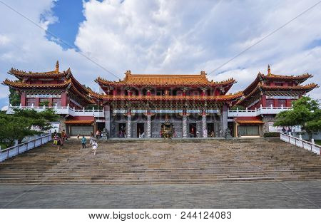 Nantou County , Taiwan - June 1 , 2018 : Beautiful Sun Moon Lake Wen Wu Temple Located On The Perime