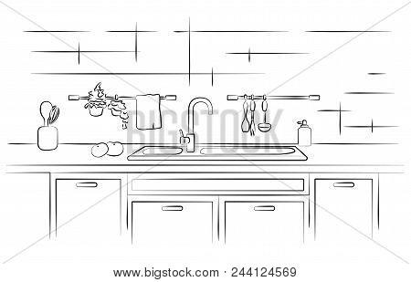 Kitchen Worktop With Sink. Linear Sketch Vector Illustration.