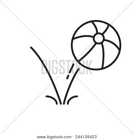 Bounce Ball Icon, Line Sign Vector Illustration Eps10. Balloon Bouncing Simple Line Icon For Web. Su