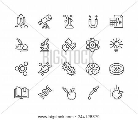 Simple Set Of Science Related Vector Line Icons. Contains Such Icons As Biology, Astronomy, Physics,