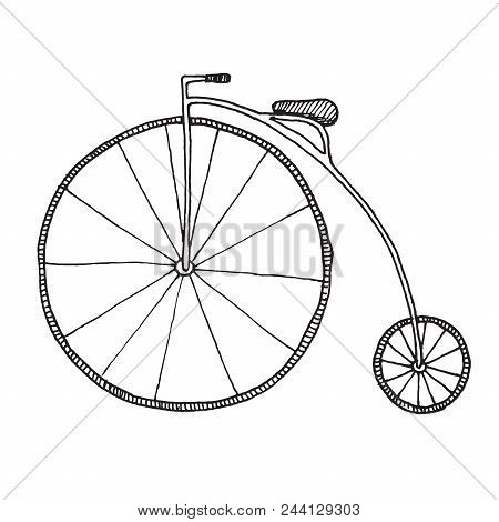 Sketch Of Penny-farthing. Bicycle Isolated On White Background. Vector Illustration