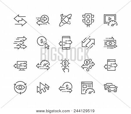 Simple Set Of Traffic Related Vector Line Icons. Contains Such Icons As Pay Per Click, Monetize, Tra