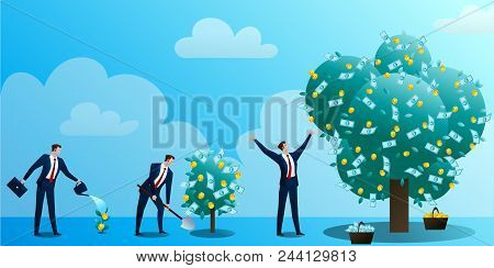 The Businessman Grows Up A Monetary Tree, Waters, Drips And Rejoices. The Person Invests In The Busi