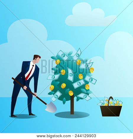 The Businessman Grows Up A Media Monetary Tree, Drips. The Person Invests In The Business. Successfu