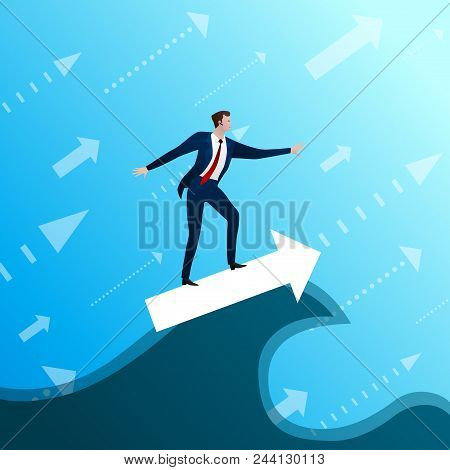 The Businessman On Arrow A Subordinates Success Wave On Blue Sky Background. Concept, Flat Design Ve