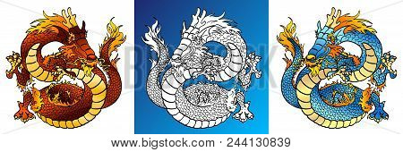 Set Cheerful Asian Dragons Colorful Red And Blue And Line-art Separately On A Blue And White Backgro