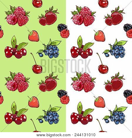 Marker Hand Drawn Isolated Seamless Pattern Berries On White Background Banner. Sketched Marker Food