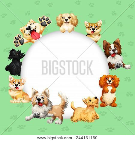 Frame Text Circle Design Dogs Of Different Breeds Colorful On A Green With Traces Of Paws Background