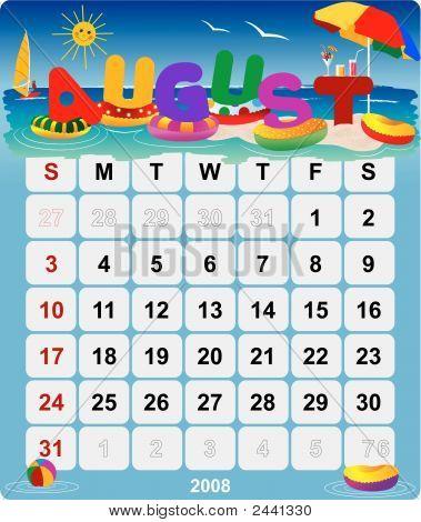 Monthly Wall Calendar August 2008