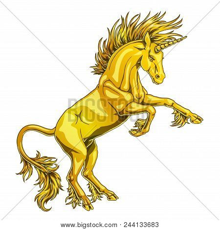 The State Proud Metall Gold Colorful Unicorn Who Got On Hind Legs On White Background Isolated. Magi