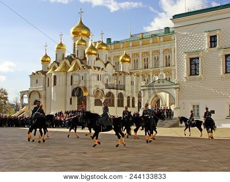 Moscow, Russia - November 27: Unidentified Guards Take Part In Changing Of The Guards Ceremony At Th