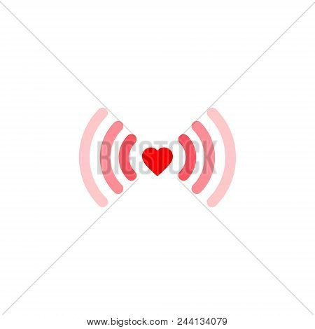 Heart Wifi. Vector Heart Connect Icon In Flat Style. Heart Signal. Red Wifi Icon In Flat Style Isola