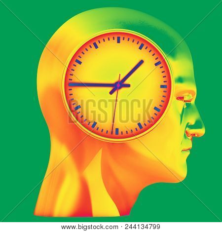 Man And Time Concept, Human Head And Time, Business Punctuality, Appointment Stress, Deadline Pressu