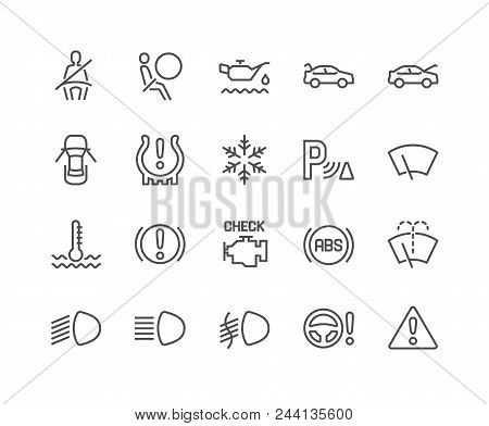 Simple Set Of Car Dashboard Related Vector Line Icons. Contains Such Icons As Check Engine, Tire Pre