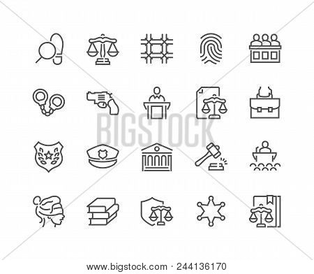 Simple Set Of Law And Justice Related Vector Line Icons. Contains Such Icons As Themis, Court, Polic