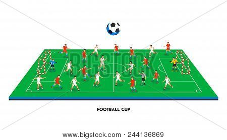 3d Isometric Football Field With Football Teams. Sport Theme, Soccer Sports Field, Stadium. Colorful