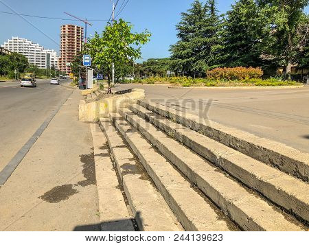 Tbilisi, Georgia -  - May 17, 2018: View Of The Steps Of The City Street, Bus Stop, Beautiful View O
