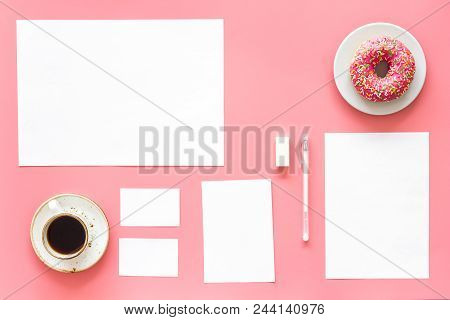 Come Up With Brand Identity. Blank Stationery For Branding Near Coffee And Donut On Pink Background