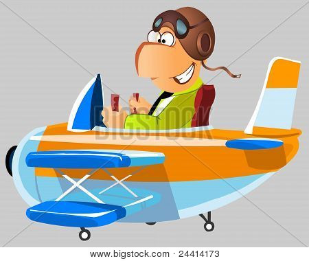 Funny man in a plane