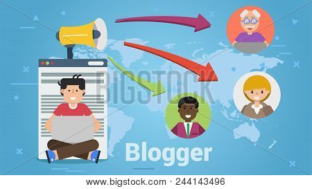 Vector Of Man Having Blog In Nternet And Sharing Ideas And News With Reader All Over The World.