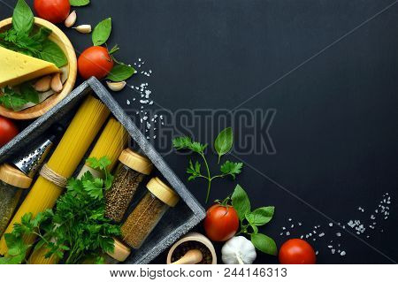 Food Frame Italian Food Background . Healthy Food Concept Or Ingredients For Cooking Pesto Sauce On