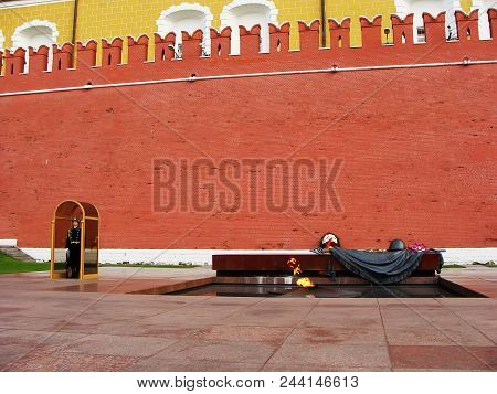 Moscow, Russia - November 27: Unidentified Guard Stands At The Tomb Of The Unknown Soldier On Novemb