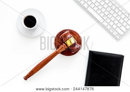 Work Desk Of Contemporary Lawyer. Lawyer Office Concept. Judge Gavel Near Computer Keyboard, Respect