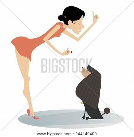 Smiling Young Woman Trains A Dog Isolated Illustration. Smiling Young Woman Holds A Small Bone In Th