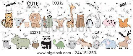 Set Of Vector Cartoon Sketch Illustration With Cute Doodle Animals. Perfect For Postcard, Birthday,