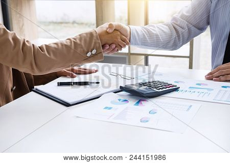 Business Partnership Meeting Concept, Two Confident Business Handshake And Business People After Dis